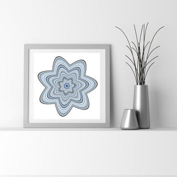 Abstract Generative Art Particle Flower, flower_9d. Limited edition Fine Art Giclee print, by San Francisco artist. Denim blue wall art