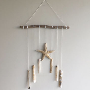 Starfish Wall Hanging/ Starfish Mobile/ Beach Mobile/ Razor Shell Wall Hanging/ Sea Shell Mobile/ Beach Decor/ Ocean Decor/ Coastal Mobile
