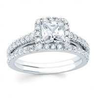 3/4ct tw Diamond Halo Engagement Ring in 14K White Gold - Designer Prototypes - Engagement Rings