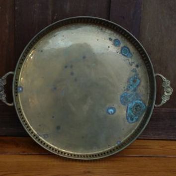 Vintage Round Brass Handled Tray Made in India Perfect for Vanity Dresser Bar Display