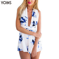 YOINS New Women Fashion White Chiffon Playsuit Sexy Deep V-neck Criss Crossed Black Floral Print Jumpsuit Rompers