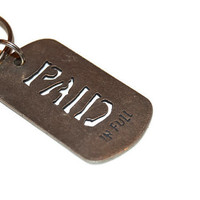 Vintage Paid In Full Keychain, Metal Keychain, Silver Keyring, Rectangular Keychain, Vintage Gifts, Souvenir Keychain, Collectible Key Chain