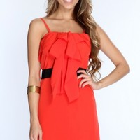 Coral Ruffle Draped Front Sexy Dress @ Amiclubwear sexy dresses,sexy dress,prom dress,summer dress,spring dress,prom gowns,teens dresses,sexy party wear,women's cocktail dresses,ball dresses,sun dresses,trendy dresses,sweater dresses,teen clothing,evening