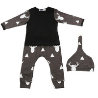 3Pc/Set Newborn Baby Girls Boys Clothes Deer Tops T-shirt+Pants Leggings  Outfits