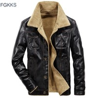 Trendy FGKKS 2018 Men PU Leather Jacket Winter Thick Warm Pilot Jacket Male Fur Collar Jacket tactical Mens Jacket Coat AT_94_13