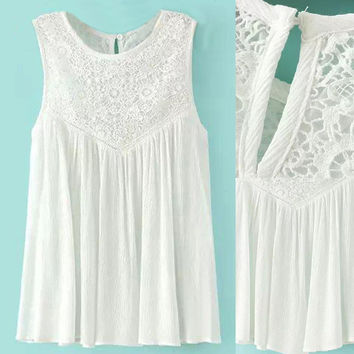 White Lace Paneled Sleeveless Pleated Vest Dress