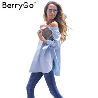 BerryGo Summer girls elegant bow off shoulder white blouse shirt Sexy blue striped long sleeve blouse Women tops loose blusas