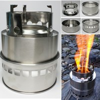 Outdoor Camping Windproof Stove Wood or Alcohol Fuel Stainless steel Stove For Backpacker Hiking Wild Survival