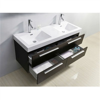 53.9-inch Double Bathroom Vanity in Wenge with Modern Poly Marble Sink