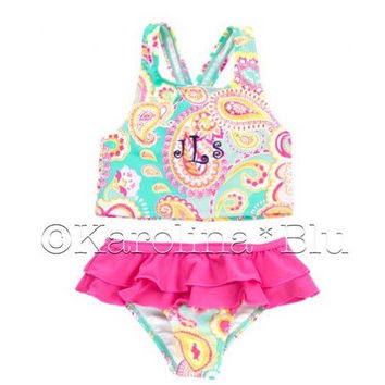Girls Monogrammed swimsuit. Several designs to choose from. You pick thread color and font