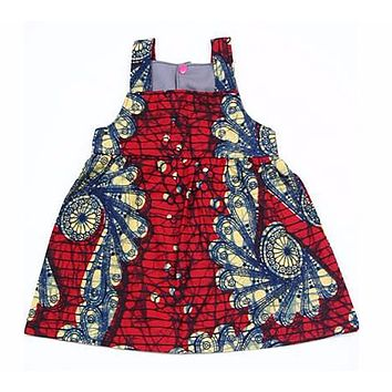 Red Fan African Wax print Baby Sundress