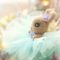 Needle felted Easter bunny doll with tutu, handmade flower rabbit with tulle dress, blue color dress, miniature bunny doll, gift under 40