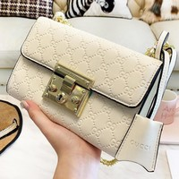 GUCCI New fashion more letter print shoulder bag women White