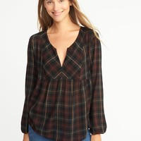 Relaxed Plaid Split-Neck Top for Women | Old Navy