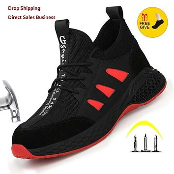 Work Safety Boots Men Shoes Sneakers Breathable Anti-Smashing Lightweight Work Boots Indestructible Sneakers With Steel Toe Cap