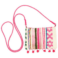 Crossbody Coin Purse with Pom-Poms - Pink