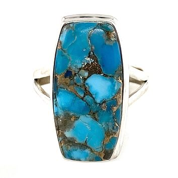 Blue Copper Turquoise Sterling Silver Oblong Ring