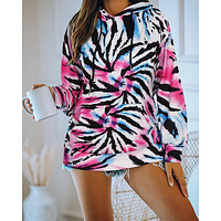 Casual color tie-dye hooded drawstring loose long-sleeved sweater Zebra ring texture