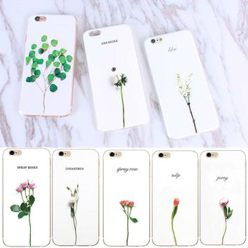 Luxury 3D Leaf Cartoon Case For iphone 6 Case Cute Plants Leaves Flower Back Cover Phone Cases For iphone 7 5 5S SE