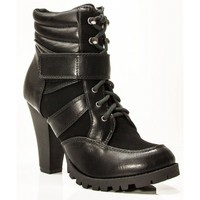 New Soda Lance Vegan Round Toe Stacked Lug Heel Lace Up Velcro Ankle Sneaker Booties BLACK