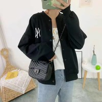 """""""New York Yankees"""" Women Sport Casual Personality Solid Color Leisure Round Neck Print Long Sleeve Zip Cardigan Jacket Coat Baseball Clothes"""