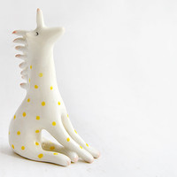 Ceramic Unicorn Miniature in White Clay and Decorated with Yellow Polka Dots