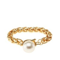 Large Pearl Chain Bracelet by Charlotte Russe - Gold