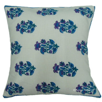 White Hand Block Cotton Outdoor Decorative Floral Throw Pillow