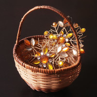 Gold and Rhinestone Ornaments, Metal Snowflakes, Amber and Gold