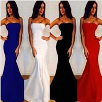 Floor-length Strapless Pure Color Mermaid Party Dress