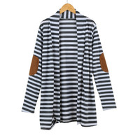Stripe PU Patched Sleeve Open Front Cardigan