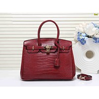 Hermes Fashion Women Shopping Leather Tote Handbag Shoulder Bag Crossbody Satchel Red