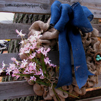 Burlap Wreath, Welcome Wreath, Burlap Bows, Flowers,