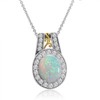 Sterling Silver Created Opal and White Sapphire Pendant-Necklace