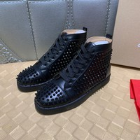 christian louboutin   Trending Men Women Black Leather Side Zip Lace-up Ankle Boots Shoes High Boots