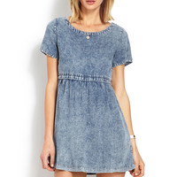 Distressed Denim Babydoll Dress