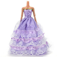 Purple Dress for Barbies Fashion Handmade Wedding Dress Doll Accessories