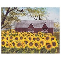 "Sunny Sunflowers Red Barn Stretched 8"" x 10"" Canvas"