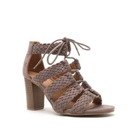 Braided Suede Stacked Heel (LUCITE-84A Taupe)