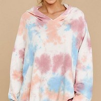 2020 autumn and winter new women's tie-dye printed hooded long-sleeved sweater