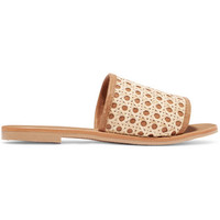 ST. AGNI - Henni leather and rattan slides