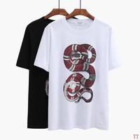 Gucci Women Man Fashion Snake Print Short Sleeve Shirt Top Tee