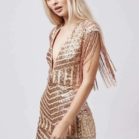 **Plunge Fringe Sequin Mini Dress by Rare