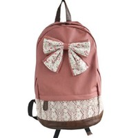 Crazycity New Top Trendy Cute Korean Lace Backpack College Style Leisure Canvas Backpack Gilr's Lovely Bow Rucksack Vintage Floral Print School Bag Retro Sweet Fashionable Outdoor Backpack for Teens Students Women Ladies Girls (Red)