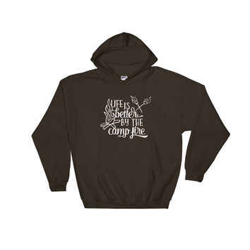 Life is Better by the Campfire Hooded Sweatshirt - White Print