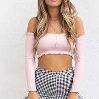 Mean It Blush Long Sleeve Crop Top