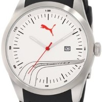 PUMA Men's PU102531002 Stripe Classic Silver White Analog Watch