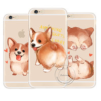 Super Cute Corgi Case For Apple iPhone 7 5 5S SE 6 6S Plus Sexy Cartoon Dog Ass Transparent Hard Plastic Phone Cover