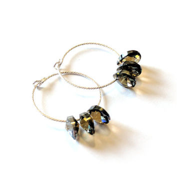 Sparkly Crystal Bronze Shade earrings - with Swarovski Mini Pear Pendants and sparkly solid sterling silver 925 ear hoops