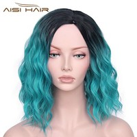 """I's a wig Synthetic Ombre Red Blue Pink Wigs Short  Black Hair for  Women's  14""""Long  Water Wave  False Hair"""